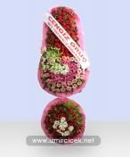 Karışık Çiçek İkili Çelenk