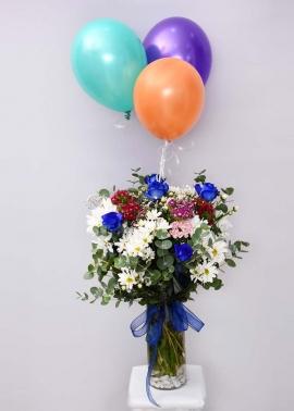 Mavi Güllü Çiçek Aranjmanı